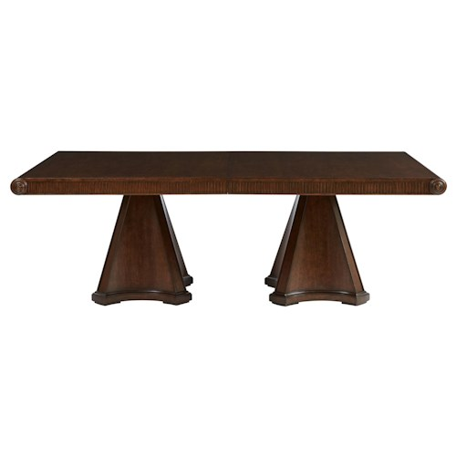 Stanley Furniture Villa Couture Dante Double Pedestal Table with Carved Apron