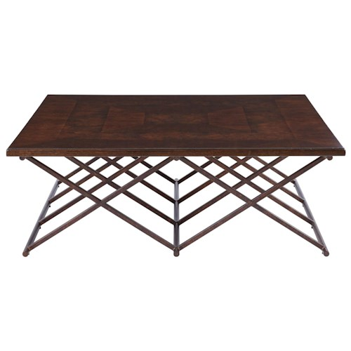 Stanley Furniture Villa Couture Rocco Cocktail Table with Metal Base and Burl Inlay Table Top