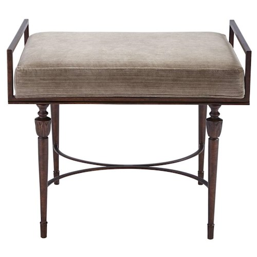 Stanley Furniture Villa Couture Catarina Bed End Bench with Antique Bronze Frame and Upholstered Slip Seat