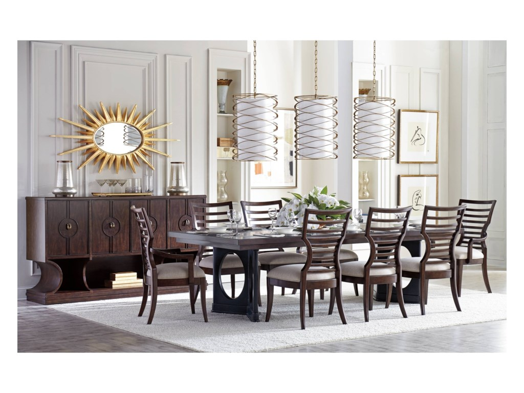 Stanley Furniture Virage9-Piece Double Pedestal Dining Table Set