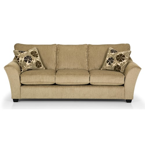 Stanton 112 Contemporary Gel Sleeper Sofa with Flared Arms and Exposed Wood Feet