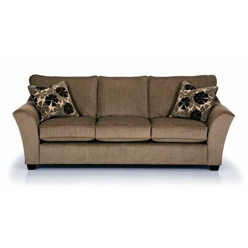 Sunset Home 112 Starmount Pistachio Contemporary Sofa with Flared Arms and Exposed Wood Feet