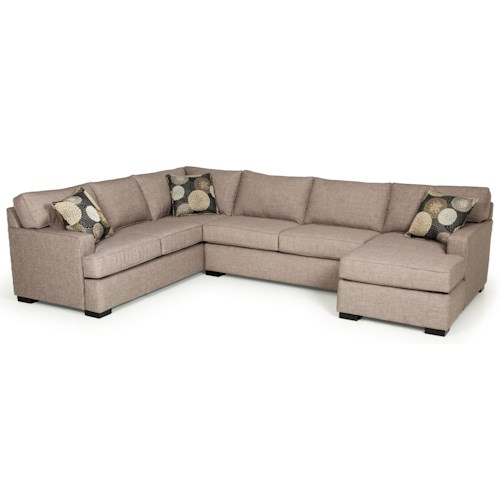 Stanton 146 contemporary three piece sectional sofa with for 3 piece sectional with chaise