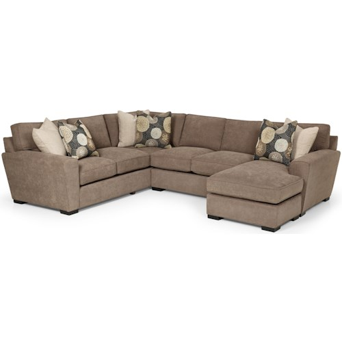 Stanton 282 Casual Sectional Sofa with Chaise and Rolled Arms