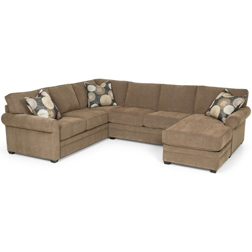 Stanton 283 Casual Sectional Sofa with Chaise and Rolled Sock Arms