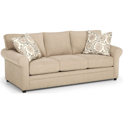 Stanton 283 Casual Queen Gel Sofa Sleeper with Rolled Sock Arms