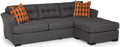 Stanton 292 Transitional Sofa Chaise and Flared Track Arms