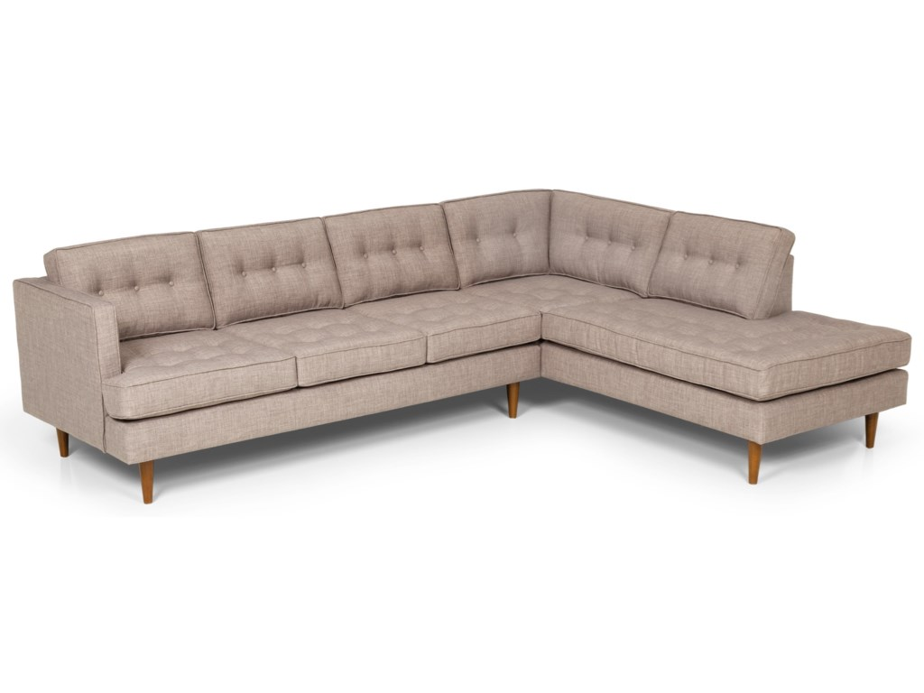 Stanton 317 Mid Century Modern 2 Piece Sectional Sofa with RAF ...
