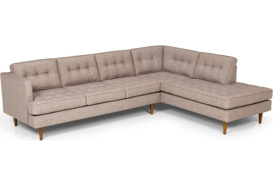 Stanton 317 Mid Century Modern 2 Piece Sectional Sofa with ...