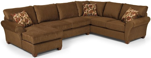 Stanton 320 Transitional Three Piece Sectional Sofa with Rolled Arms