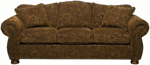 Stanton 326  Traditional Camel Back Sofa with Rolled Arms and Bun Feet