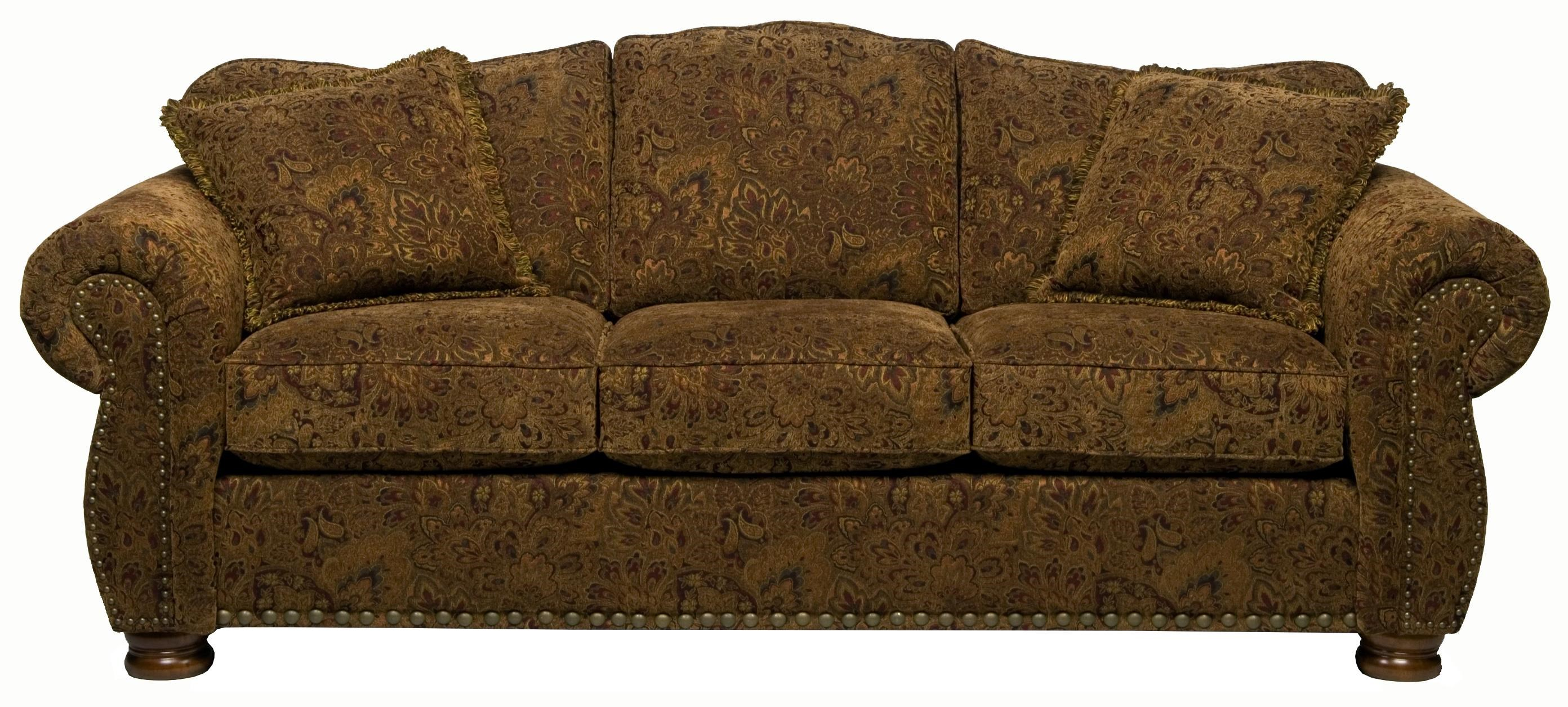 Stanton 326 Traditional Camel Back Queen Gel Sofa Sleeper With Rolled Arms  And Bun Feet