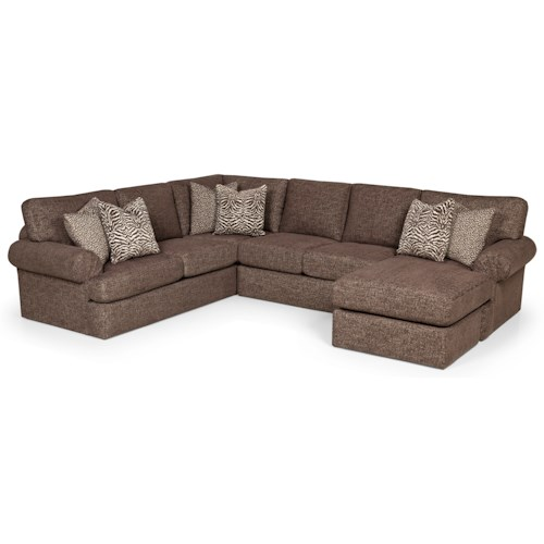 Stanton 371 Sectional Sofa with Rolled Pleated Arms