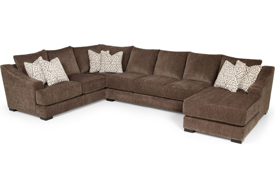 Stanton 376 Casual Sectional Sofa With Sloped Track Arms Wilson S Furniture Sectional Sofas