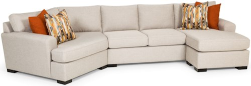 Stanton 390 Contemporary Sectional Sofa with Cuddler Section