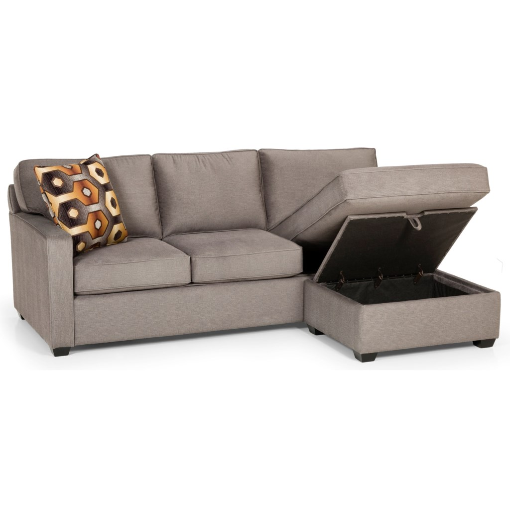 Stanton 403 Casual Sofa Chaise Queen Gel Sleeper With Storage