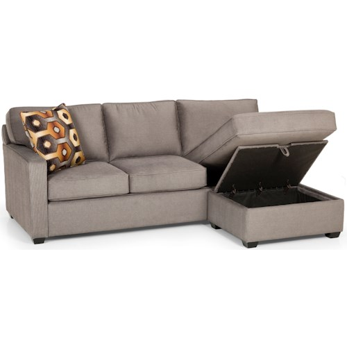 Stanton 403 Casual Sofa Chaise Queen Gel Sleeper with Storage Ottoman