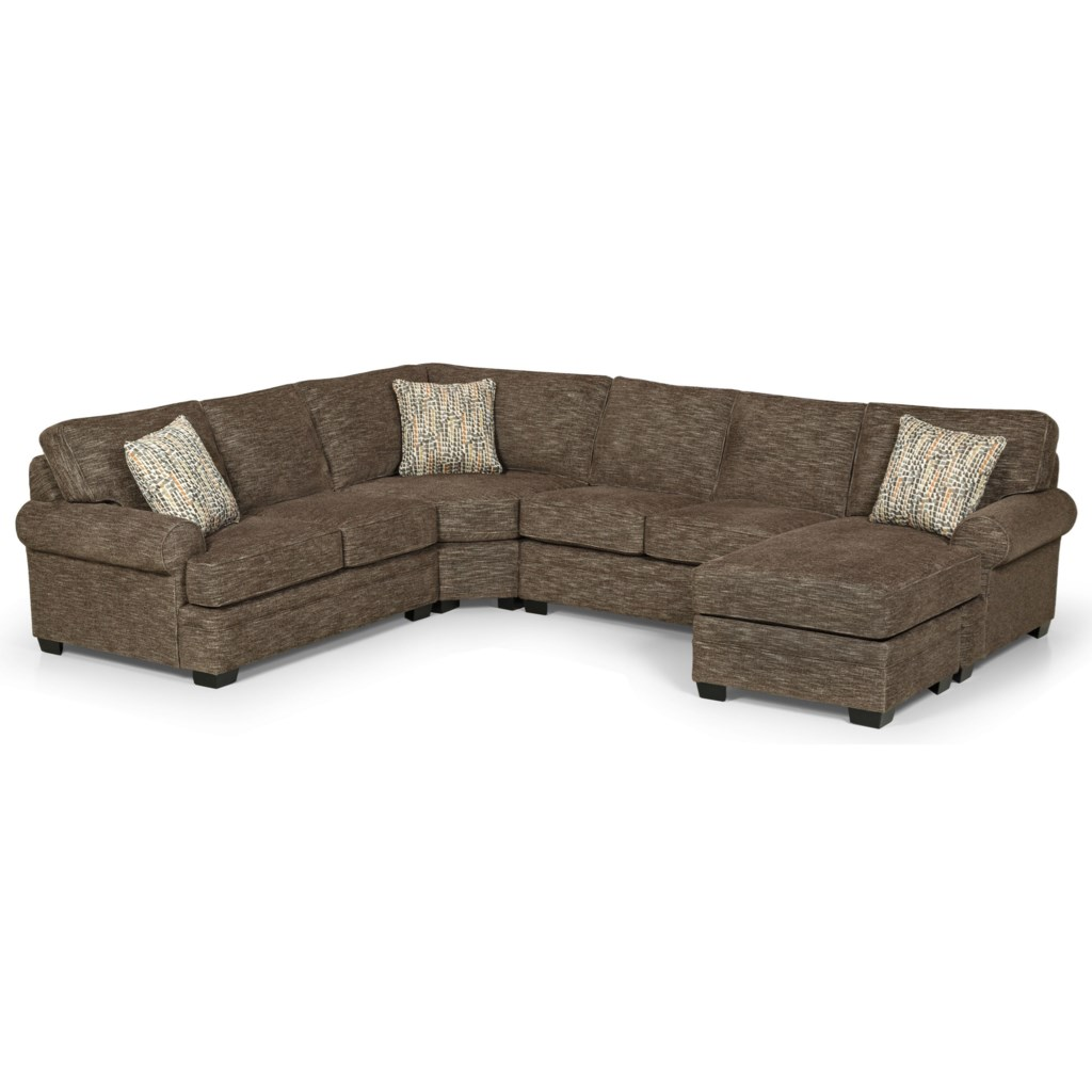 Stanton 422 Casual 5 Seat Sectional Sofa With Raf Chaise Lounge