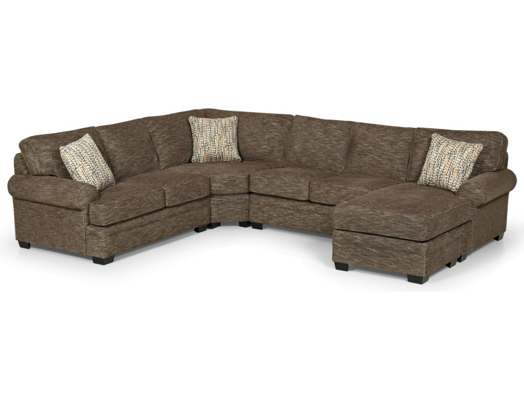 Stanton 422 Casual 5 Seat Sectional Sofa with RAF Chaise Lounge ...