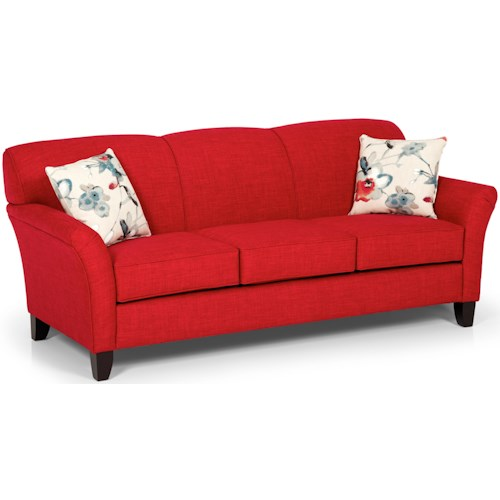 Stanton 455 Contemporary Sofa with Flared Arms and Tapered Feet
