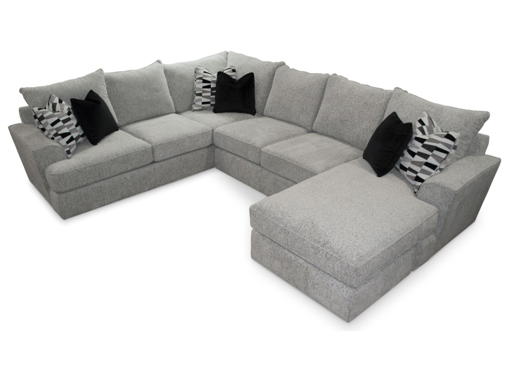 Sunset Home 535 Contemporary 5-Seat Sectional Sofa with RAF ...