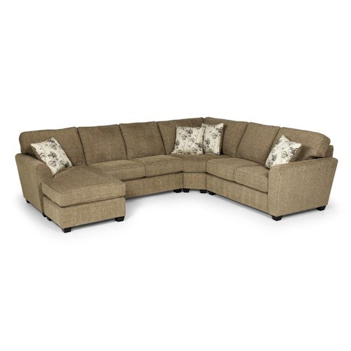 Stanton 643 casual three piece sectional sofa with raf for 3 piece sectional sofa with chaise