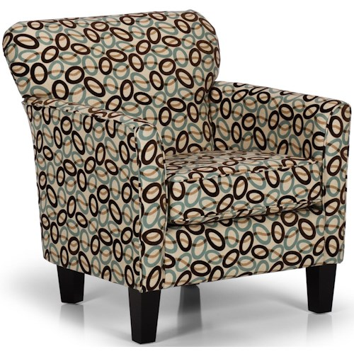 Sunset Home Accent Chairs and Ottomans Contemporary Accent Chair with Flared Arms