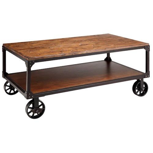 Stein World Accent Tables Wood&Metal Wheeled Coffee Table W/Shelf