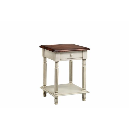 Stein World Accent Tables 1 Drawer Wood Top End Table in White Truffle