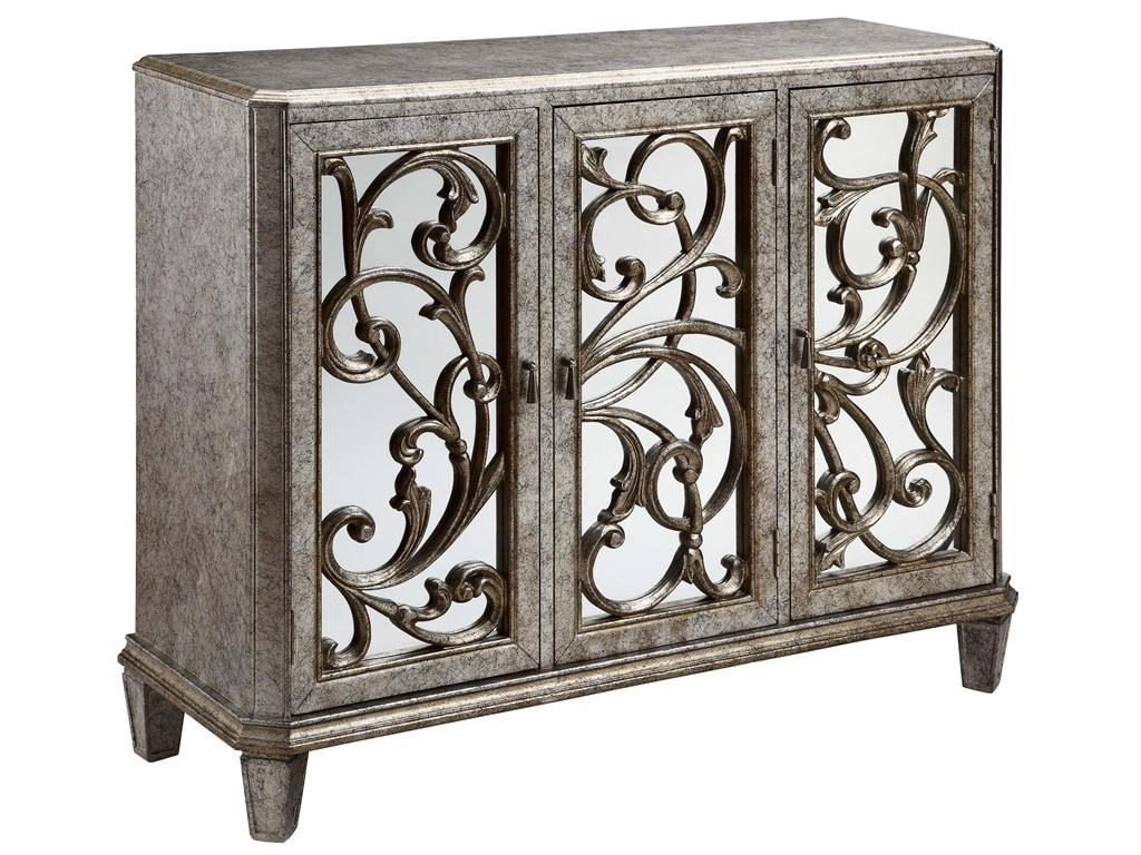 Stein World Cabinets Leslie Mirrored, 3 Door Cabinet