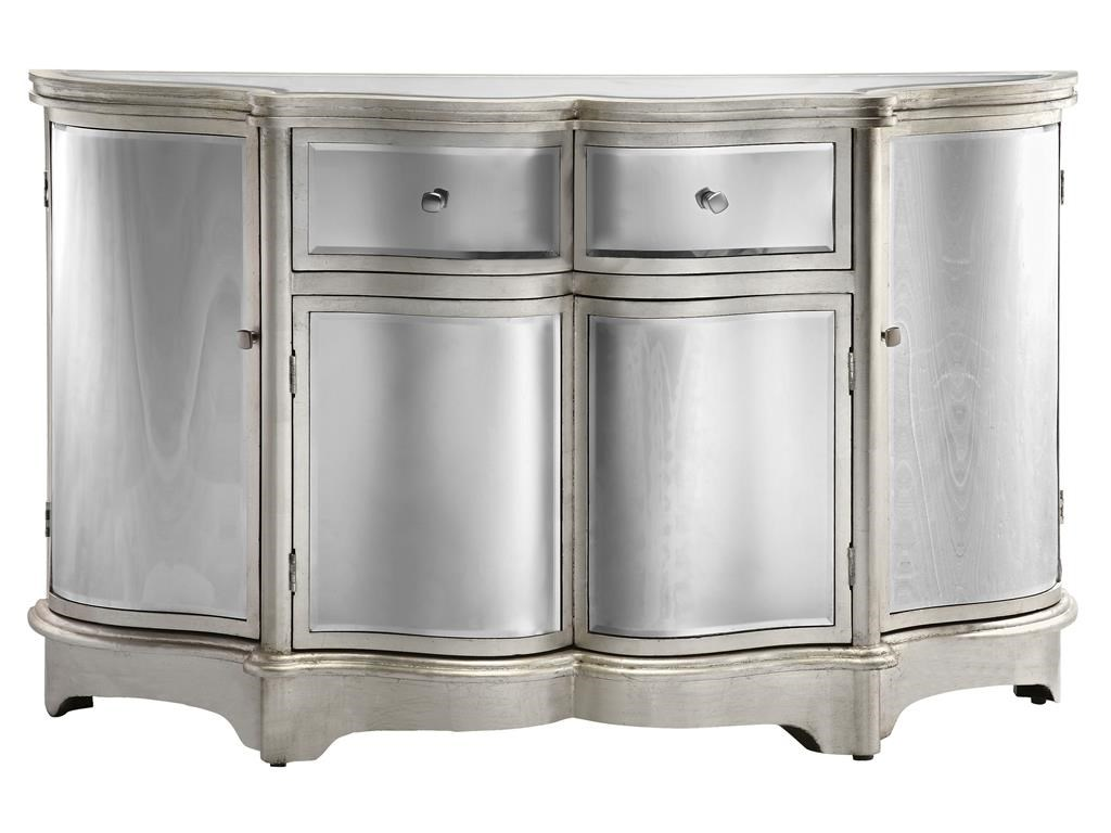 Great Stein World Cabinets 4 Door, 2 Drawer Curved Mirrored Credenza