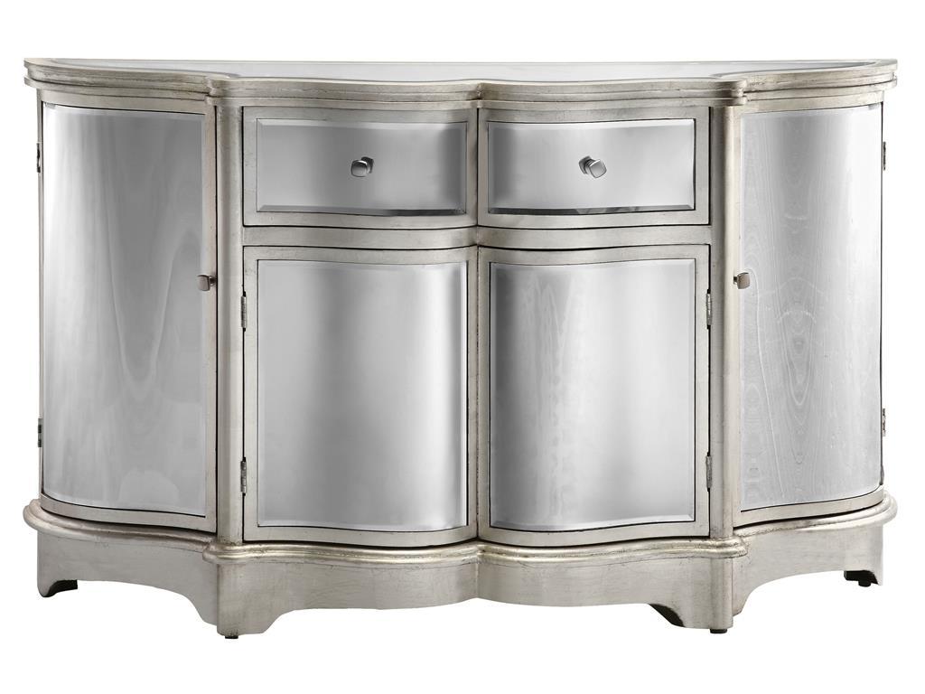 Stein World Cabinets 4 Door, 2 Drawer Curved Mirrored Credenza