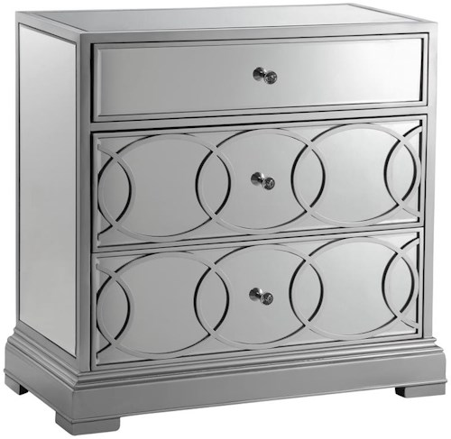Stein World Cabinets Mirrored Storage Cabinet in Silver Finish