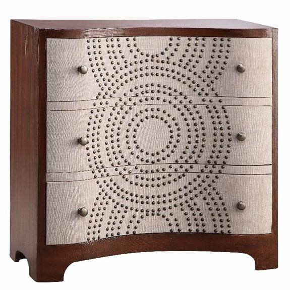 Stein World Cabinets 3 Drawer Accent Chest With Linen And Nailhead Detailing