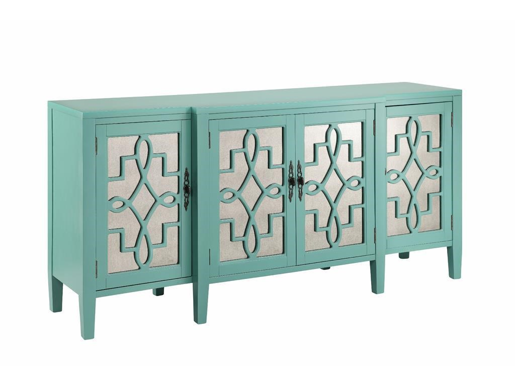 Cabinets 4 Door Mirrored Credenza In Robinu0027s Egg Blue