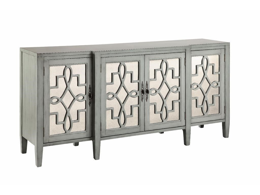 Exceptional Stein World Cabinets 4 Door Mirroed Credenza In Sage Gray