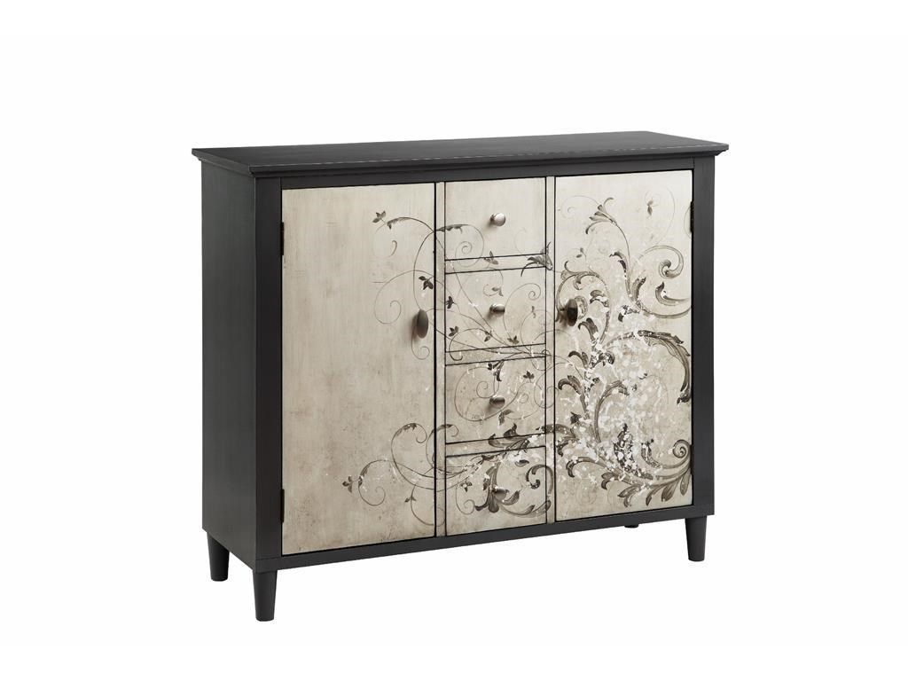 Stein World Cabinets 4 Drawer, 2 Door Cabinet With Freeform Scroll Pattern