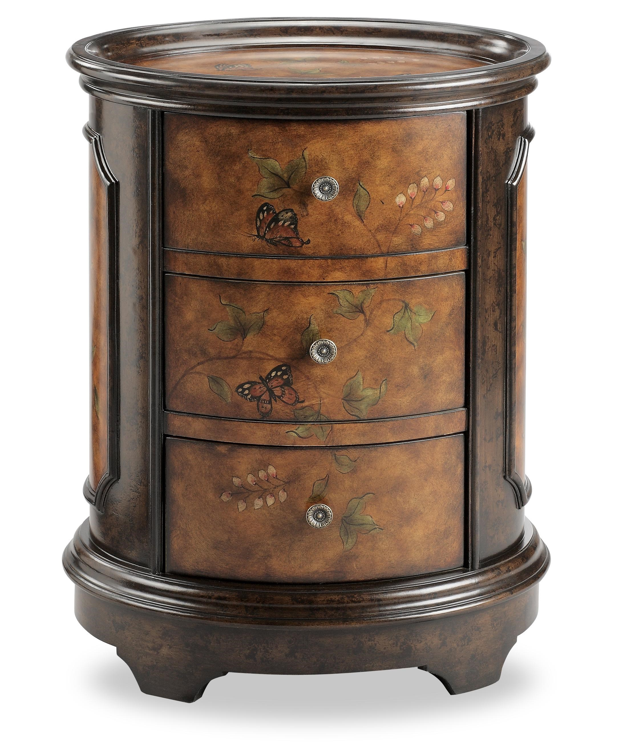 oval accent table end chests oval accent table with butterfly motif morris home