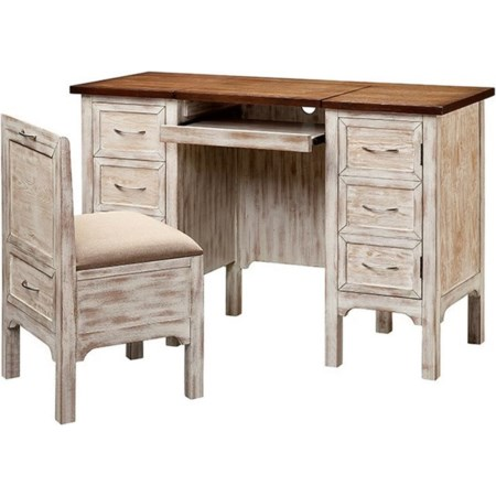 Caitlyn Desk/Vanity and Stool Set