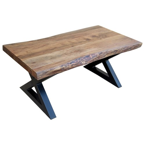 Stein World Living On The Edge Rectangular Cocktail Table with Wood Top and Metal X Legs
