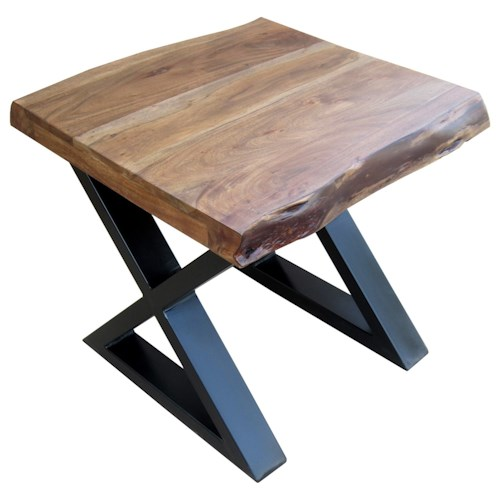 Stein World Living On The Edge End Table with Wood To and Metal X Legs