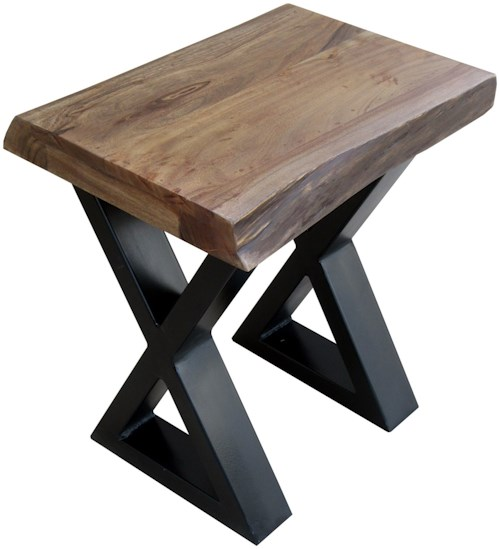 Stein World Living On The Edge Wood Top Chairside Table with Metal Legs