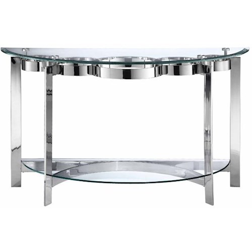Stein World Mercury Demilune Console Table w/ Glass Top