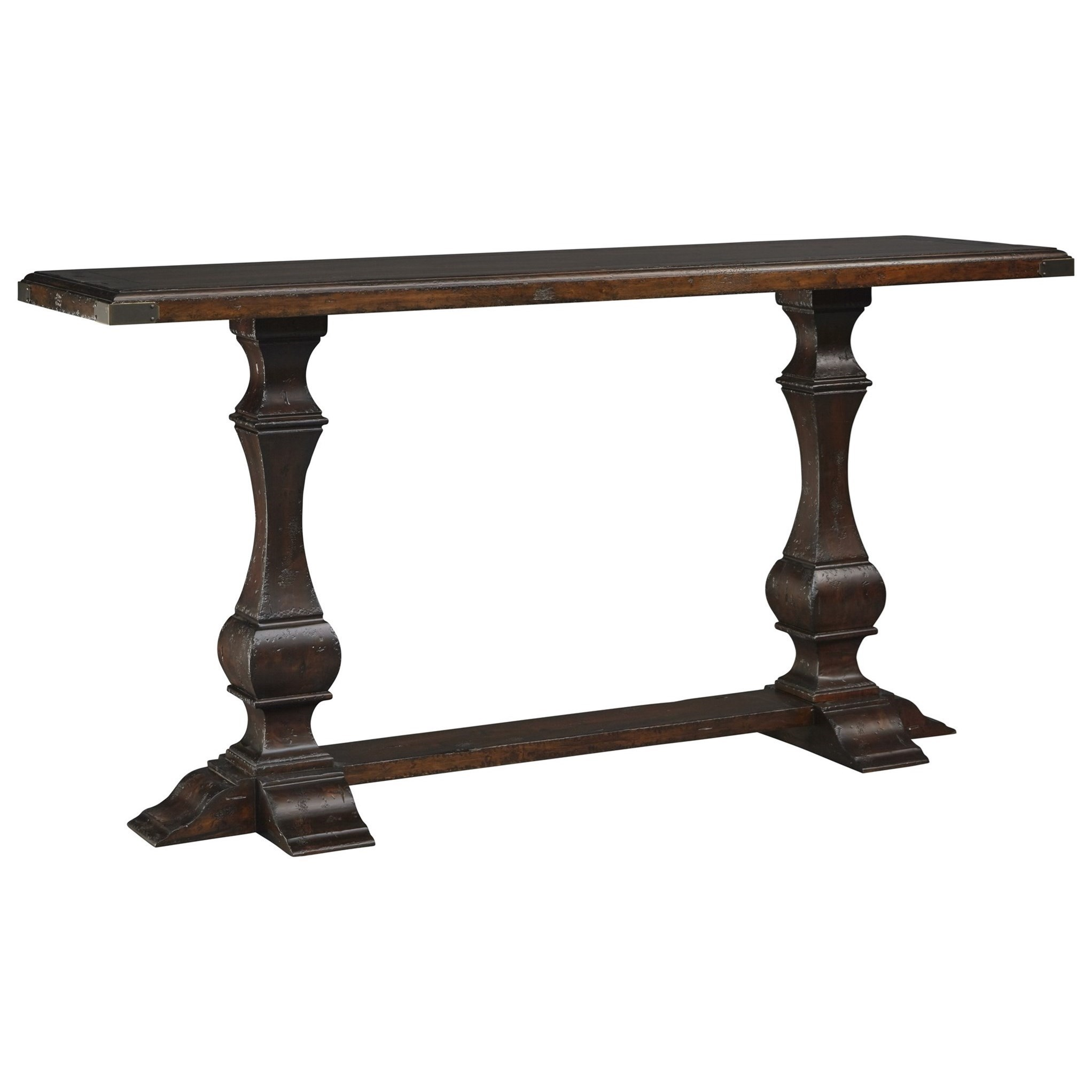 Stein World Sandifer Carved Sofa Table With Metal Corner Accents