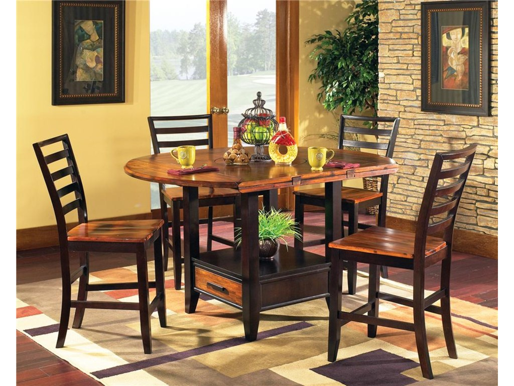 Steve Silver Abaco 5 Piece Gathering Table Set With Storage Base And Drop Leaves Wayside Furniture Pub Table And Stool Sets
