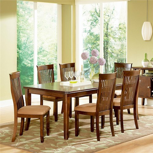 Steve Silver Montreal 7 Piece Transitional Brown Dining Table Side Chair Set