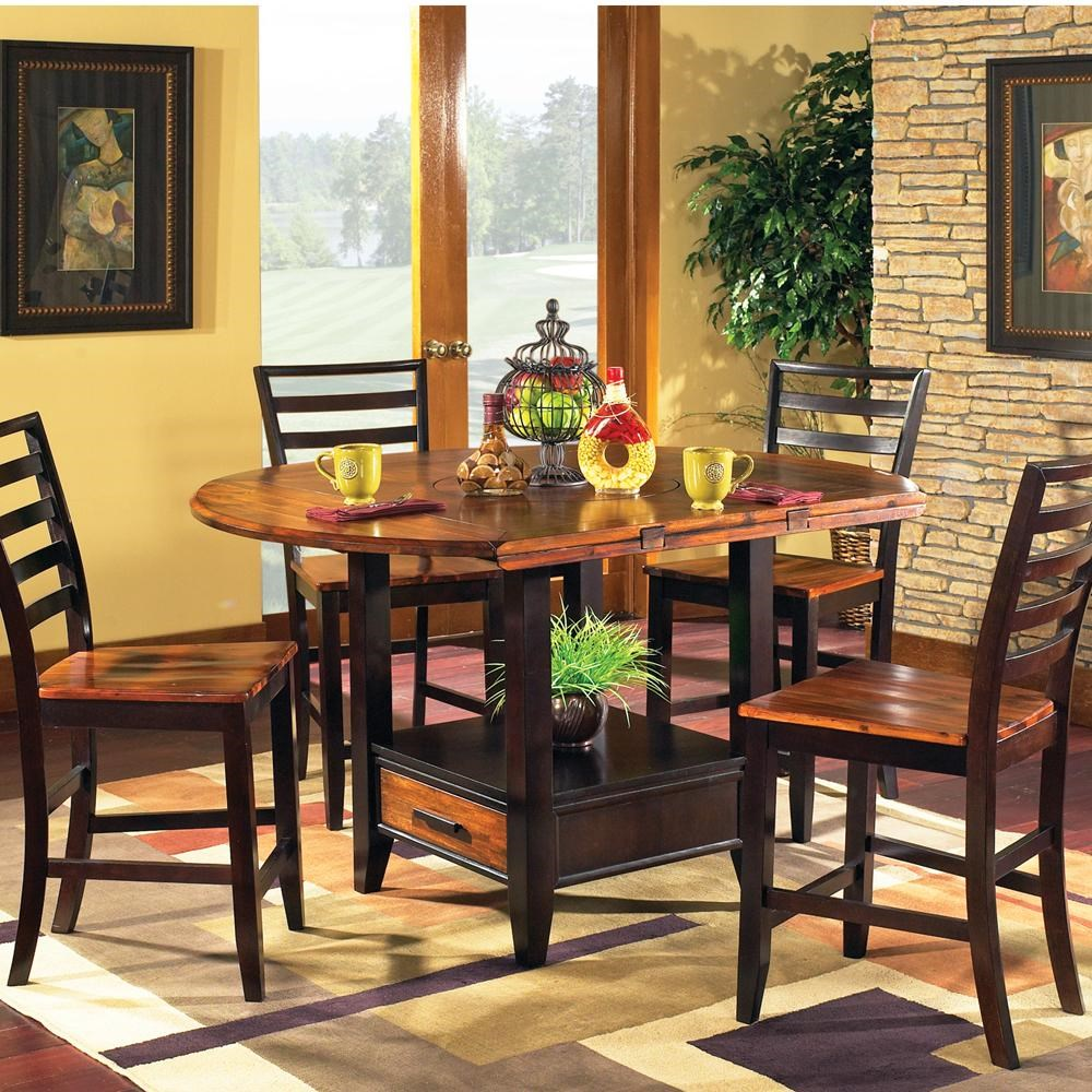 5-Piece Gathering Table Set with Storage Base and Drop Leaves