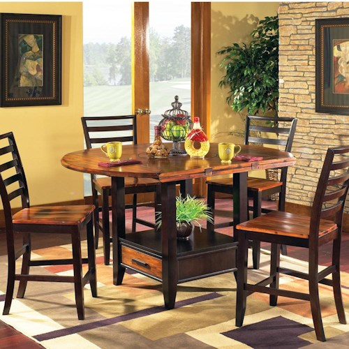 Steve Silver Abaco 5-Piece Gathering Table Set with Storage Base and Drop Leaves