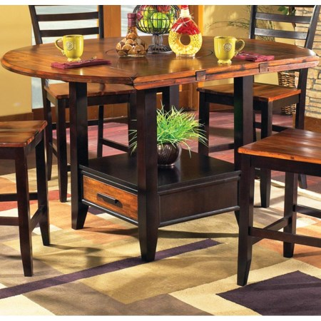 "59"" Round Drop Leaf Counter Table"