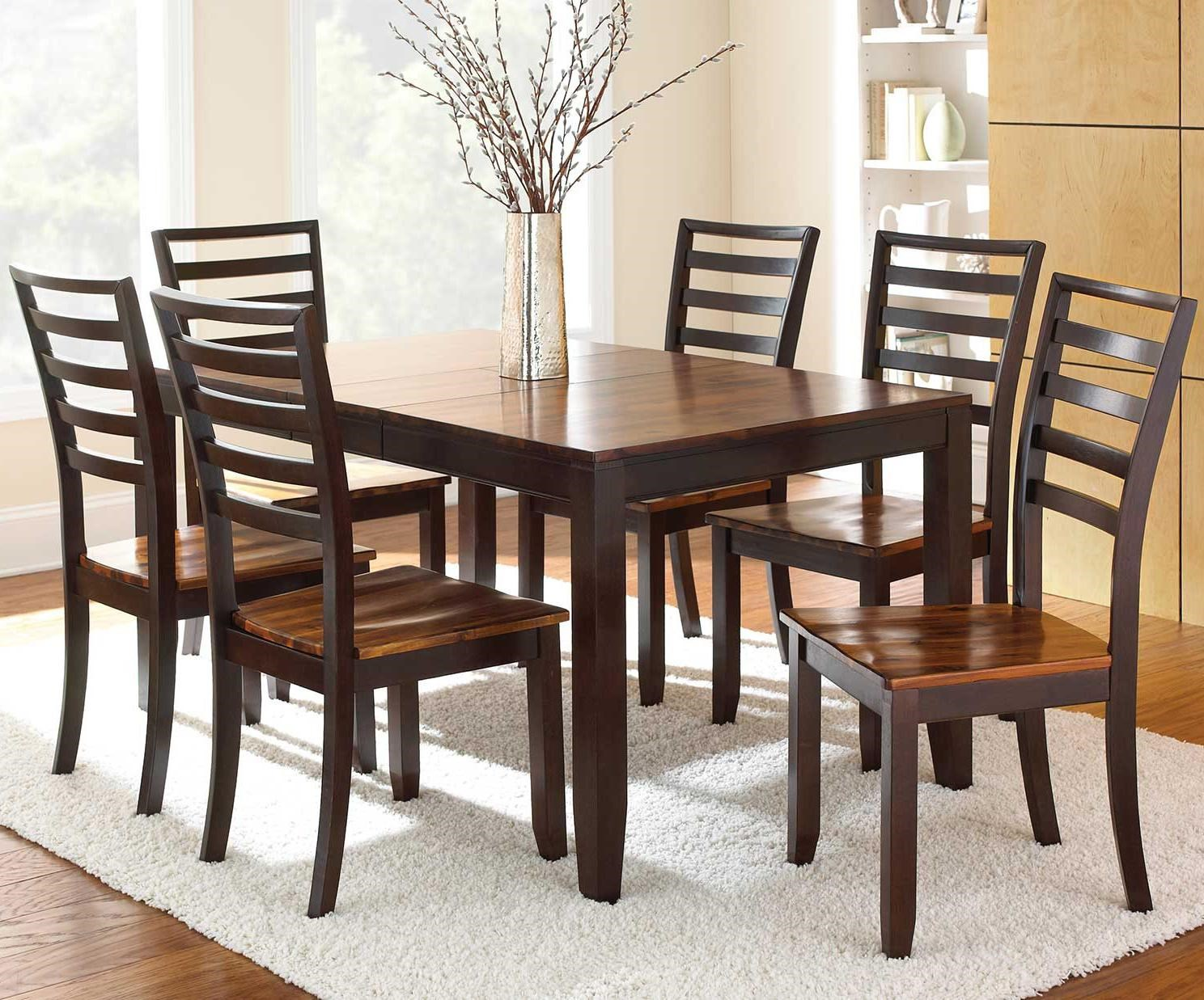 7-Piece Leg Table and Ladder Back Chairs